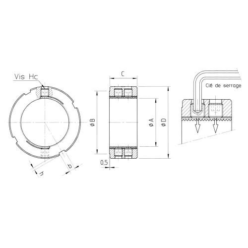 Ecrou LRE7 - 22x150 - Ø35